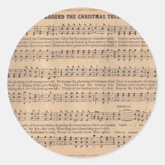 クリスマスキャロル: クリスマスツリーのまわり ラウンドシール