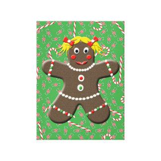 クリスマスキャンデーのキャンバスの芸術のジンジャーブレッドの女の子 キャンバスプリント