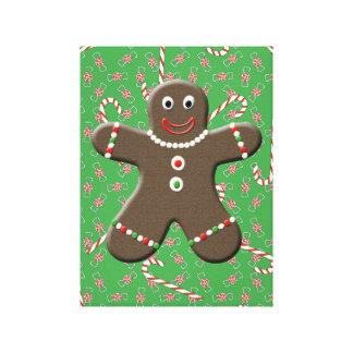 クリスマスキャンデーのキャンバスの芸術のジンジャーブレッドの男の子 キャンバスプリント