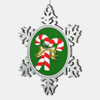 クリスマスキャンデー1 スノーフレークピューターオーナメント