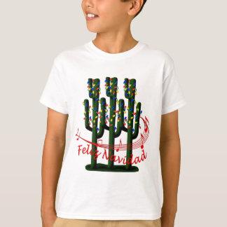 クリスマスサボテンの木Feliz NavidadはTシャツをからかいます Tシャツ