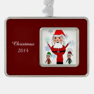 クリスマスサンタおよび小妖精や小人 シルバープレートフレームオーナメント