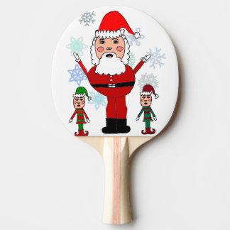 クリスマスサンタおよび小妖精や小人 卓球ラケット