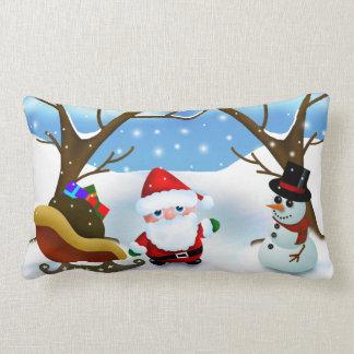 クリスマスサンタおよび雪だるま ランバークッション