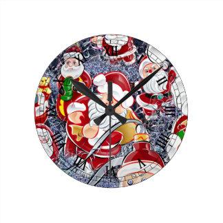 クリスマスサンタクロース ラウンド壁時計
