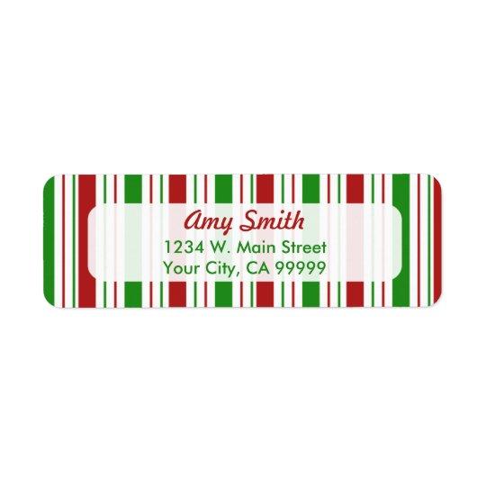 クリスマスストライプなパターン差出人住所ラベル 返信用宛名ラベル