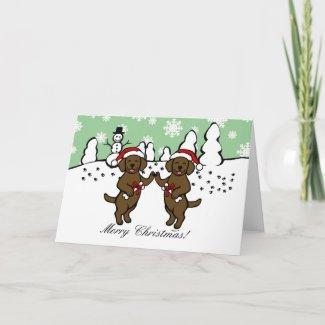 クリスマスチョコレートLabradorsの漫画 グリーティング・カード