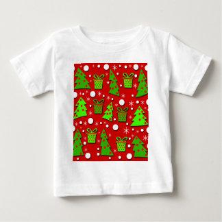 クリスマスツリーおよびギフトパターン ベビーTシャツ