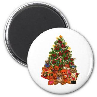 クリスマスツリーおよびテディー・ベア マグネット