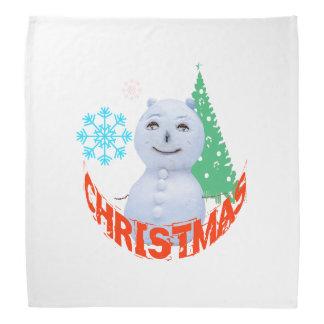 クリスマスツリーおよび雪だるま バンダナ