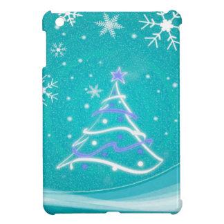 クリスマスツリーおよび雪片のターコイズ iPad MINIケース