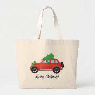 クリスマスツリーが付いている車を運転しているアメリカFoxhound ラージトートバッグ
