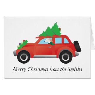 クリスマスツリーが付いている車を運転しているSalukiの猟犬 カード