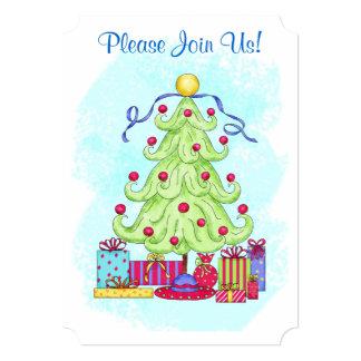 クリスマスツリーのカスタムな招待状のオープンハウス カード