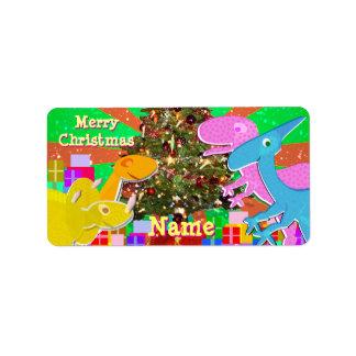 クリスマスツリーのギフトのラベルのステッカーによる恐竜 ラベル