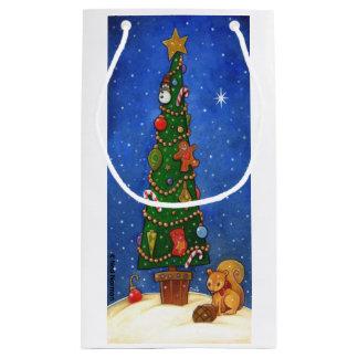 クリスマスツリーのギフトバッグ スモールペーパーバッグ