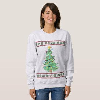 クリスマスツリーのステッチのセーター スウェットシャツ