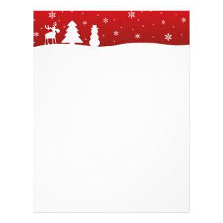 クリスマスツリーのトナカイの雪だるま-文房具 レターヘッド
