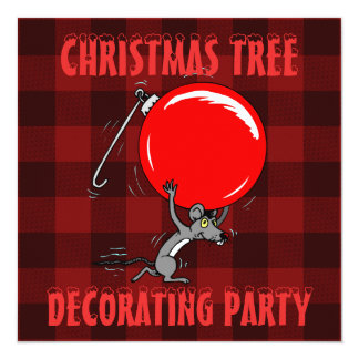 クリスマスツリーのトリミングのパーティー の赤い格子縞のマウス カード