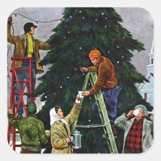 クリスマスツリーのトリミング スクエアシール
