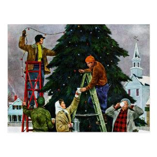クリスマスツリーのトリミング ポストカード