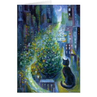 クリスマスツリーのバルコニーの眺め猫 カード