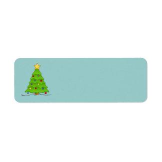 クリスマスツリーのブランクのラベル 返信用宛名ラベル