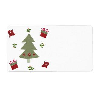 クリスマスツリーのプレゼントおよびヒイラギ ラベル