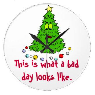 クリスマスツリーのユーモアの悪い状態日 ラージ壁時計