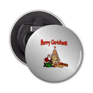 クリスマスツリーの下のおもちゃが付いているサンタ 栓抜き