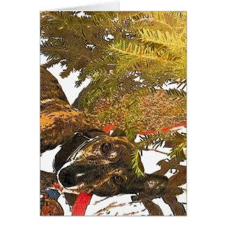 クリスマスツリーの下のグレイハウンド カード