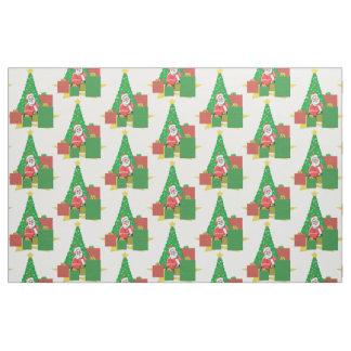 クリスマスツリーの休日のサンタクロースの生地 ファブリック