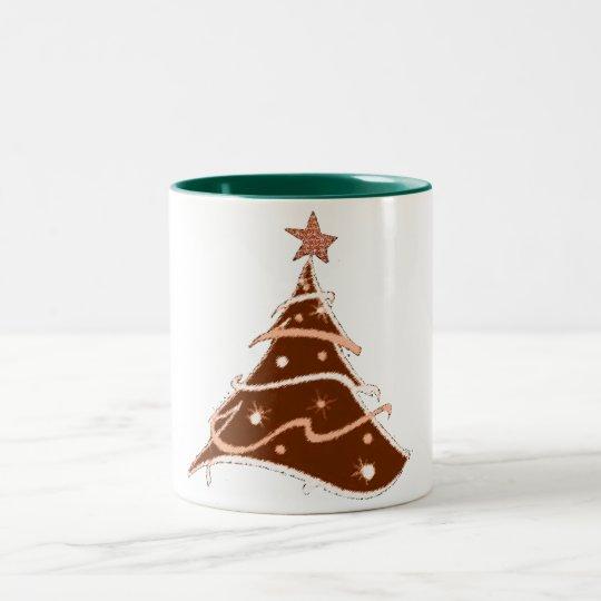 クリスマスツリーの休日のデザインのマグのデザイン ツートーンマグカップ