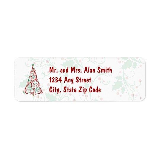 クリスマスツリーの休日の宛名ラベル 返信用宛名ラベル