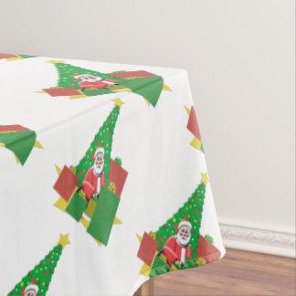 クリスマスツリーの休日サンタ テーブルクロス