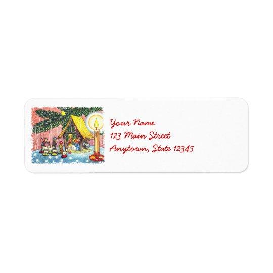 クリスマスツリーの住所シールの下の出生 返信用宛名ラベル
