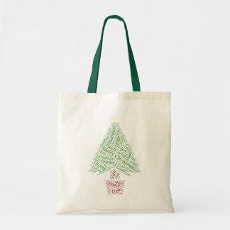 クリスマスツリーの単語の芸術のトート トートバッグ
