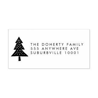 クリスマスツリーの差出人住所の木のスタンプ ラバースタンプ