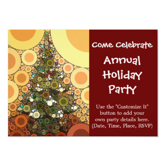 クリスマスツリーの幸せな休日の円のモザイク カード