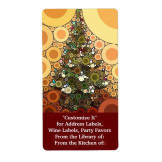 クリスマスツリーの幸せな休日の円のモザイク ラベル