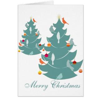 クリスマスツリーの森林クリスマスの鳥 カード