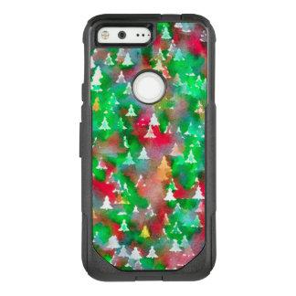クリスマスツリーの水彩画パターン オッターボックスコミューターGoogle PIXEL ケース