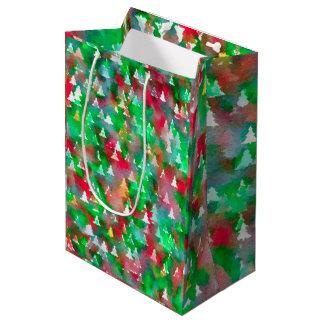 クリスマスツリーの水彩画パターン ミディアムペーパーバッグ