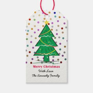 クリスマスツリーの紙吹雪はクリスマスの休日に点を打ちます ギフトタグ