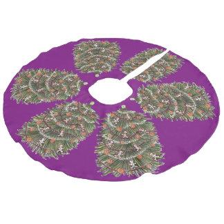 クリスマスツリーの紫色のスカート フェイクリネンツリースカート