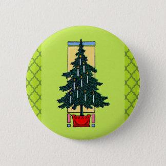 クリスマスツリーの絵画 5.7CM 丸型バッジ
