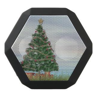 クリスマスツリーの背景- 3Dは描写します ブラックBluetoothスピーカー
