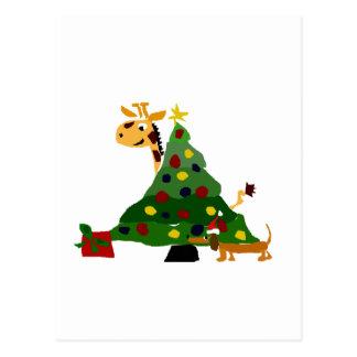 クリスマスツリーの芸術によるキリンそしてダックスフント ポストカード