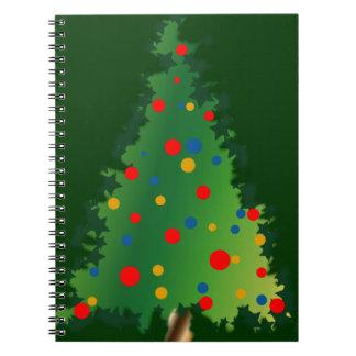 クリスマスツリーの装飾が付いている螺線形ノート ノートブック