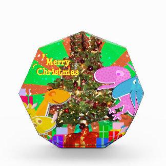 クリスマスツリーの装飾による幸せな恐竜 表彰盾